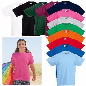 919a7416 3 Pack Fruit of the Loom Original Childrens T Shirt Boys Girls PE ...