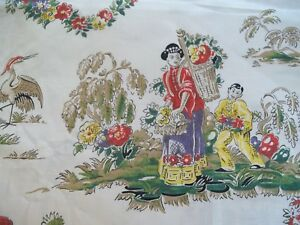 Vintage 50 S Polished Cotton Vat Prints Japan Home Style