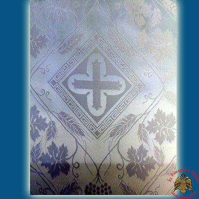 Fabric For Orthodox Vestment Liturgical White Fabric With Golden Cross Details