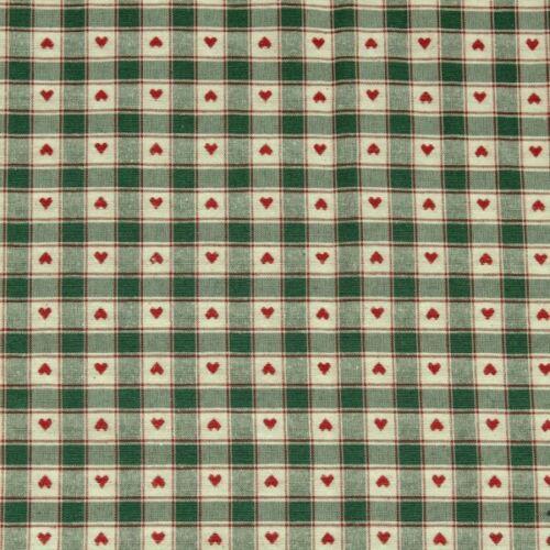 Dekostoff Landhaus Herzen Karos Grün Rot 140cm breit Meterware Kissenstoff