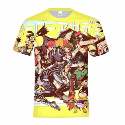 My Hero Academia Kids Boys T-shirt Comic Funny Summer Short Sleeves Tees Gifts