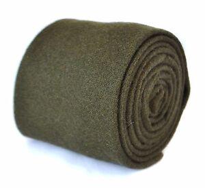 Frederick-Thomas-plain-khaki-army-dark-green-wool-tie-FT2084-RRP-19-99