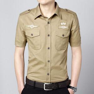 Men-039-s-Military-Style-Air-Force-One-Pilot-Dress-Shirt-USA-Army-Summer-Shirt