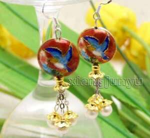 Big-18mm-Red-Round-Cloisonne-amp-6-7mm-White-Natural-Pearl-Dangle-earring-ear596