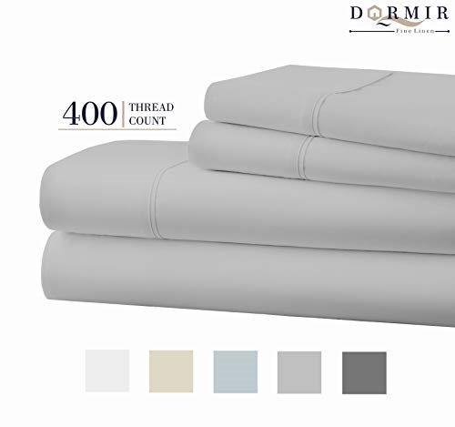400 Thread Count 100% Cotton Sheet Light grau King Sheets Set, 4-Piece Combed &