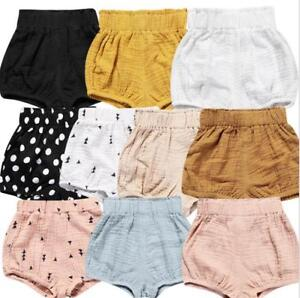 5525f067133ee Details about Baby toddler kids clothes girls short pants linen diaper  cover shorts cool