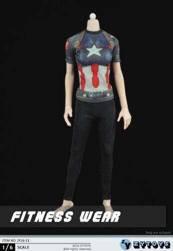 1//6 female graphic tee Captain America Fitness wear w// legging phicen kumik USA