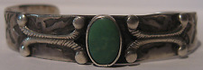 VINTAGE NAVAJO INDIAN STERLING SILVER GREEN TURQUOISE CUFF BRACELET