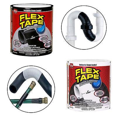 """Strong WaterProof Flex Tape Black White 4"""" x 5"""" Rubberized Seal Stop Leaks Tape"""