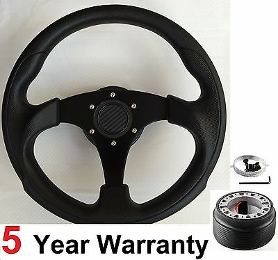 300MM STEERING WHEEL & BOSS KIT FIT VW GOLF MK3 CADDY LUPO POLO NEW