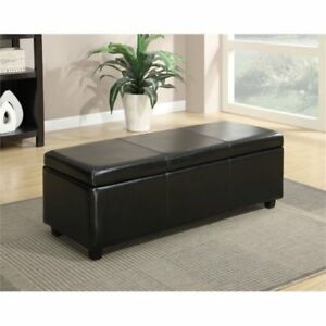 Enjoyable Simpli Home Avalon Rectangular Faux Leather Storage Ottoman Bench Gmtry Best Dining Table And Chair Ideas Images Gmtryco