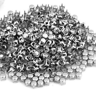 "500 x Silver Leathercraft DIY Round Studs Spots Spikes Rivets Punk 0.16"""