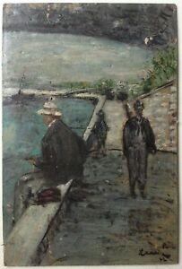 Tableau-ancien-impressionniste-Pecheurs-Quai-de-Seine-Paris-Huile-signee-c1942