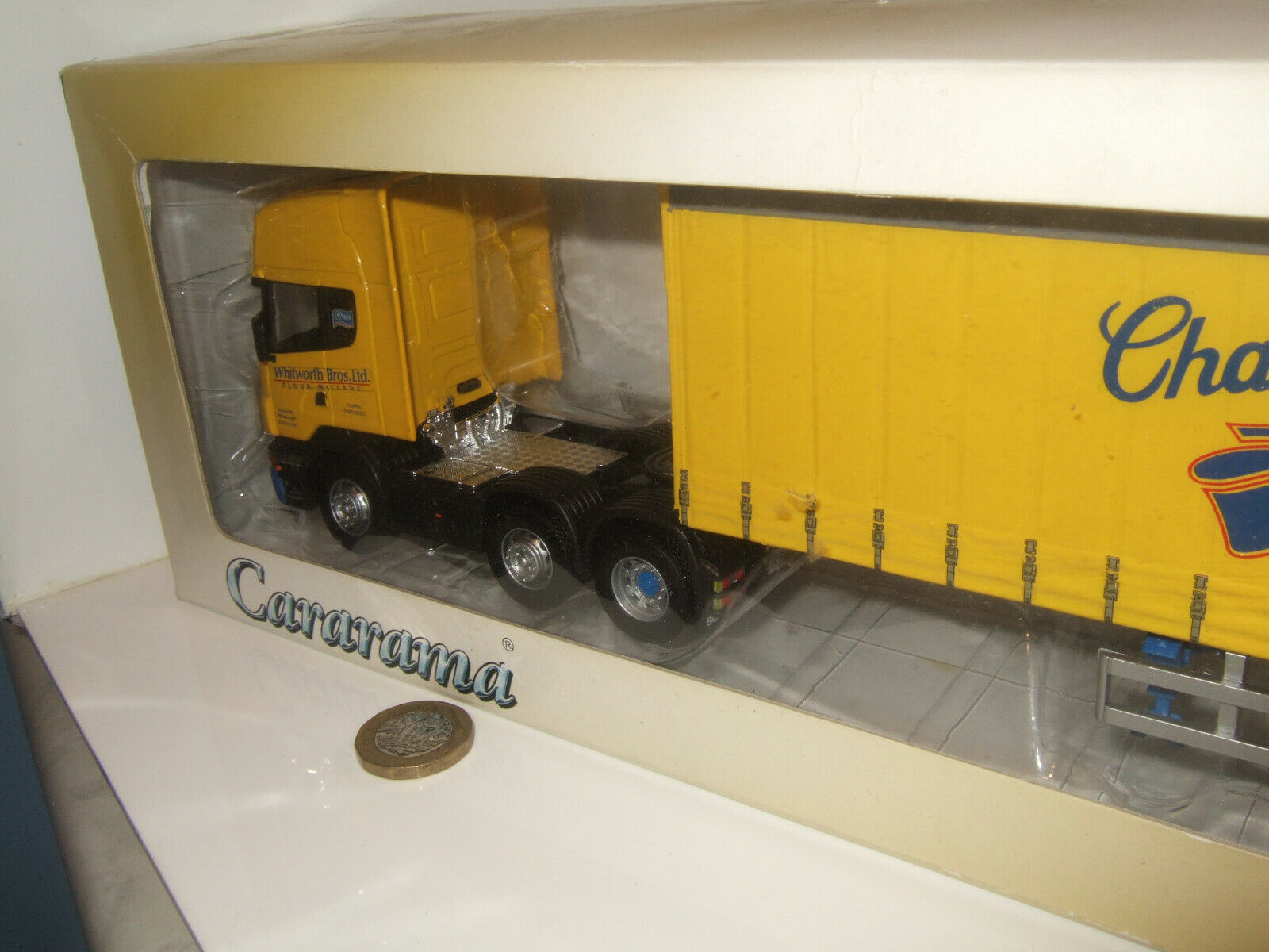 Cararama Cararama Cararama Scania Topline Artic Curtain Sider for Whitworth Bros Ltd 1 50 Scale. 742384
