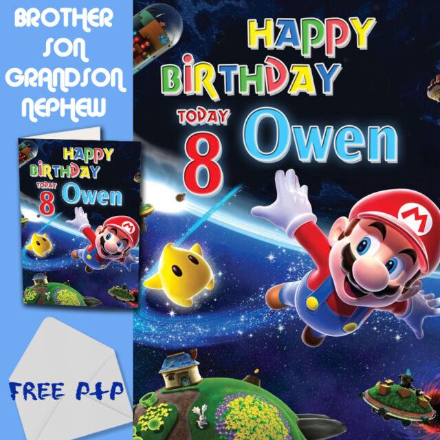 Super Mario Personalised Birthday Card Son Brother Nephew Grandson