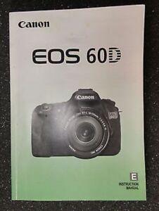 canon eos 60d digital camera owners instruction manual dslr ebay rh ebay com canon eos 60d user guide canon eos d60 user manual