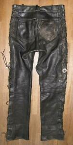 GENUINE-LEATHER-SCHNUR-LEDERJEANS-Biker-Lederhose-in-schwarz-ca-W33-034-L33-034