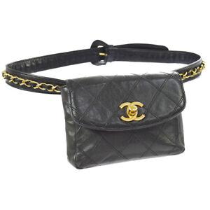 0321b1d2cb8a Auth CHANEL Cosmos Quilted CC Chain Bum Bag Waist Pouch Black ...
