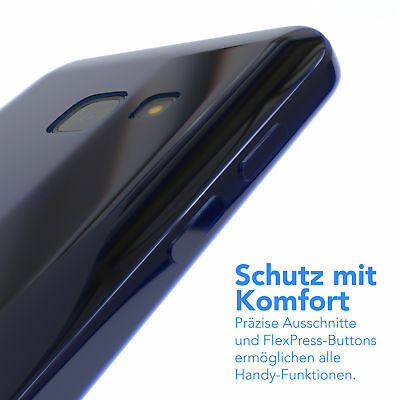 Ultra Slim Cover für Galaxy A3 (2017) Case Silikon Hülle Transparent Blau