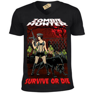 Zombie-Hunter-T-Shirt-female-apocalypse-walking-pinup-sexy-dead-Mens-V-Neck