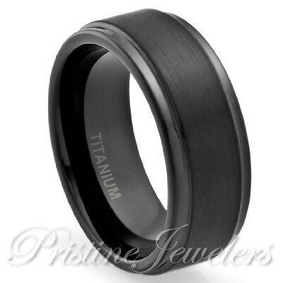 NEW 8mm Black Titanium Men's Brushed Center Engagement Wedding Band Promise Ring