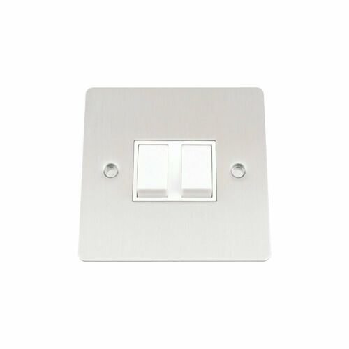 Matt A5 SWI2GSFWH 10 A Double 2-Gang 2-Way Light Switch With Flat White Insert