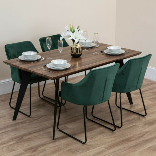 Furniture Luxury Wooden Dining Table Set Iron Legs Green Soft Velvet Chairs Sofa 6 Seater Home Furniture Diy Hashtagcoffee Com Au
