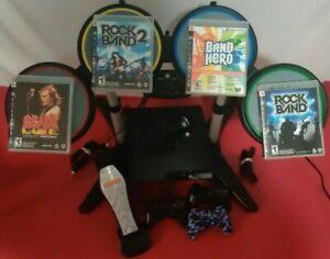 Rock Band & Console PS3 Slim Bundle Lot,4 Games Drums,Cord