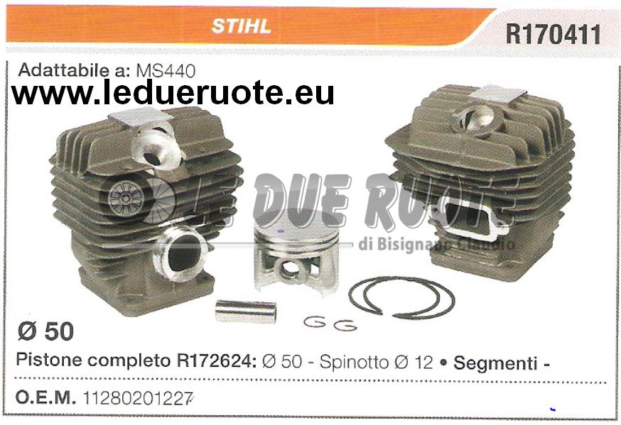 11280201227 KIT CILINDRO E PISTONE  STIHL MS440 MOTOSEGA Ø 50