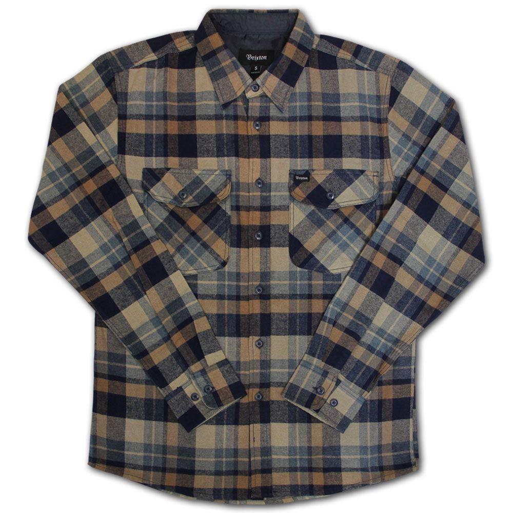 Brixton Flynn Flannel L S Shirt Navy Khaki