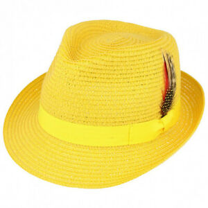 c15eba0bdbea48 Image is loading Mens-Ladies-Mustard-Packable-Straw-Summer-Trilby-Hat-