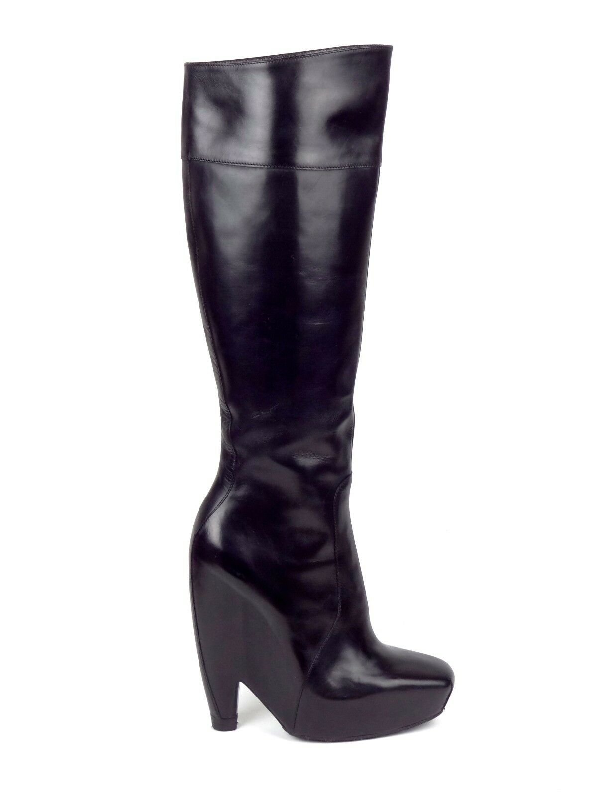 BALENCIAGA Fall 2006 Iconic Black Leather Platform Boots IT38/US7.5 ~NIB~