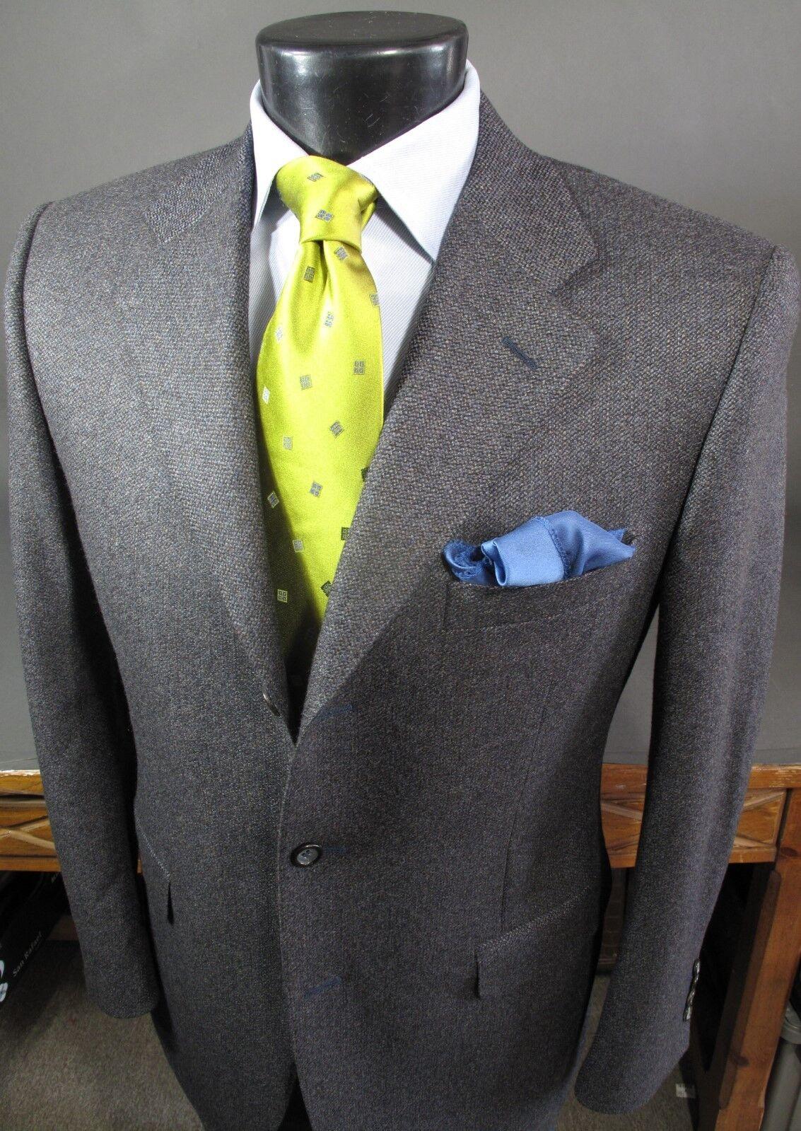 Canali Sport Coat 50R Eu, 40R US, Wool, Steel Blau Double Vents 3 Button