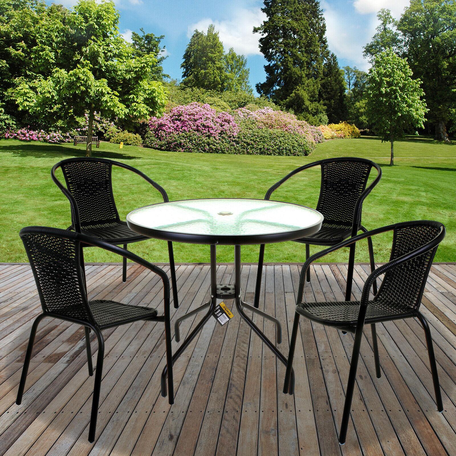 Garden Furniture - Black Wicker Bistro Sets Table  Patio Garden Outdoor Furniture Diner Home