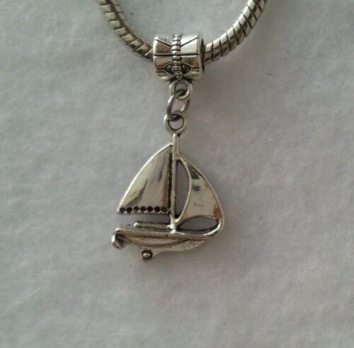 Ocean Sailing Yacht Sailboat Beach Dangle Bead Fit European Style Charm Bracelet