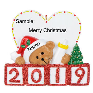 Personalized-Bear-Christmas-Tree-Ornament-2019-Baby-039-s-1st-Christmas-Gift