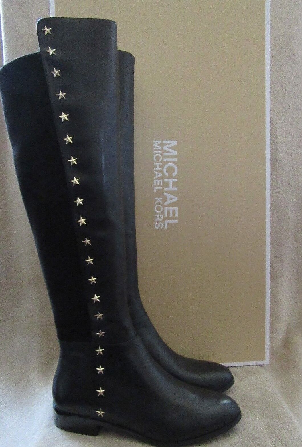 MICHAEL KORS Bromley Flat Star Studs Leather Riding Boots Shoes US 8 NWB