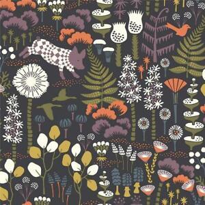 Wallpaper Hoppet Folk Scandinavian Floral, Bird, Pig Print on Black