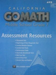 Details about Grade 7 Go Math California Middle School Assessment Resources  with Answers 7th