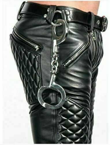 Men/'s Real Leather Pants Black Quilted Pants with Two Zipper at Front