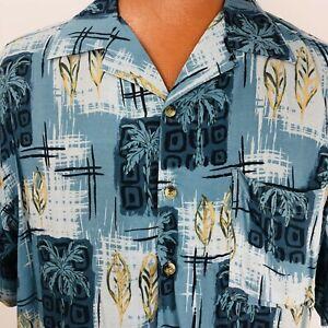 Island-Blue-Hawaiian-Shirt-Large-Blue-Tapas-Palm-Trees-Leaves-Geometric