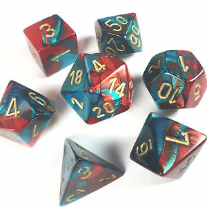 Image is loading Chessex-Dice-Poly-Gemini-Red-Teal-w-Gold-