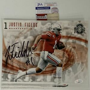 Autographed/Signed JUSTIN FIELDS Ohio State Buckeyes 8x10 Photo JSA COA Auto #5