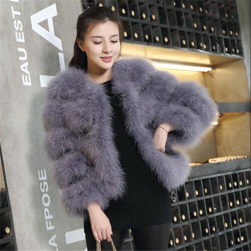 Colore nero vera piuma di struzzo Fur Coat Bolero Giacca Matrimonio Bolero Sposa