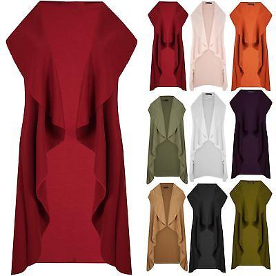 Professioneller Verkauf Ladies Womens Waterfall Open Front Sleeve Top Cape Cardigan Coat Blazer Uk 8-14 Noch Nicht VulgäR