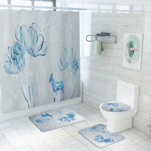 Floral-Bathroom-Rug-Set-Shower-Curtain-Non-Slip-Toilet-Seat-Lid-Cover-Bath-Mat