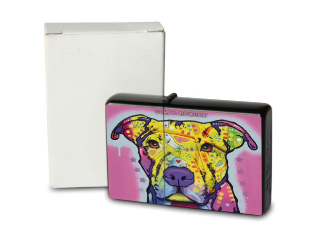 Pocket Windproof Lighter Brushed Oil Refillable Colorful Pitbull
