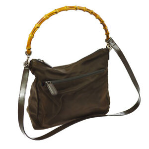5147666ab413 Image is loading Authentic-GUCCI-Bamboo-Handle-2way-Hand-Bag-Khaki-