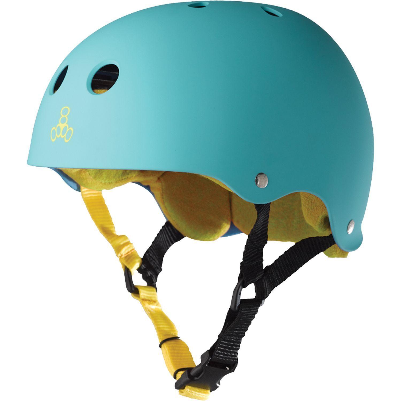 Triple  8 Helmet Teal Rubber Yellow S  just buy it