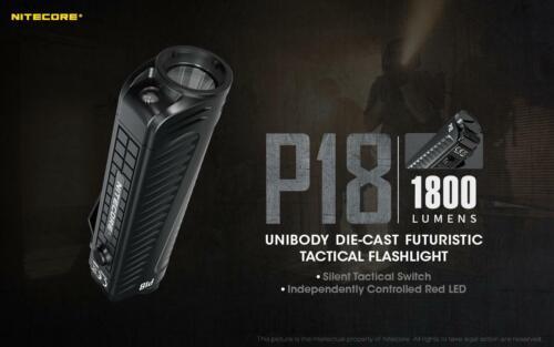1800 Lumen Nitecore P18 Unibody Die-cast Futuristic Tactical Flashlight